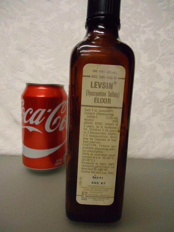 Kremers Urban Co. Levsin hyosyamine elixir vintage Empty Medicine Bottle 1 pint