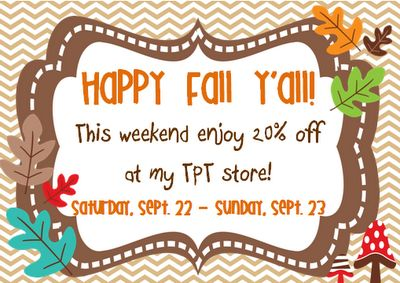 20% off all products from The Resource Room Teacher!: Fall Y All, Tpt Sales, Sales Blog, Fall Sales, Teacher Blog, Math Ideas, Second Grade Math, Classroom Ideas, Happy Fall