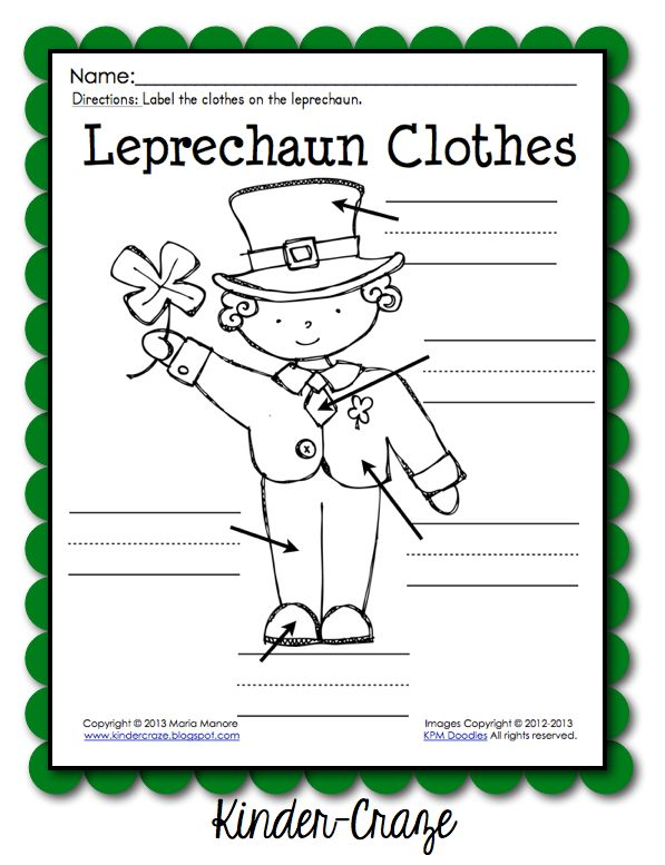 FREE leprechaun labeling page from Kinder-Craze