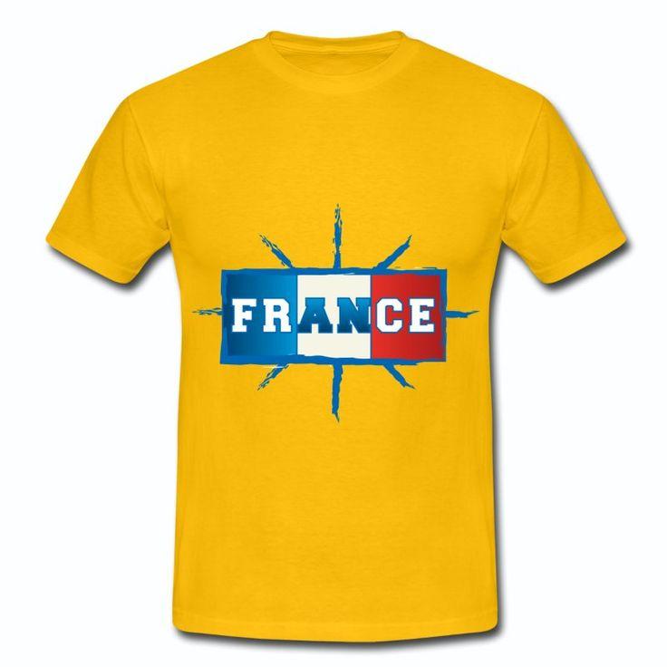 T-shirt Jaune France bleu blanc rouge: Drapeau France Français