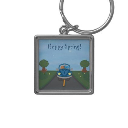 Milo Drives A Blue Bug Car Spring Keychain - cat cats kitten kitty pet love pussy