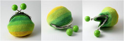 вязаный кошелек с фермуаром, вязаный кошелек на застежке с шариками, кошелек вязаный крючком, стильный вязаный кошелек, зеленый вязаный кошелек
