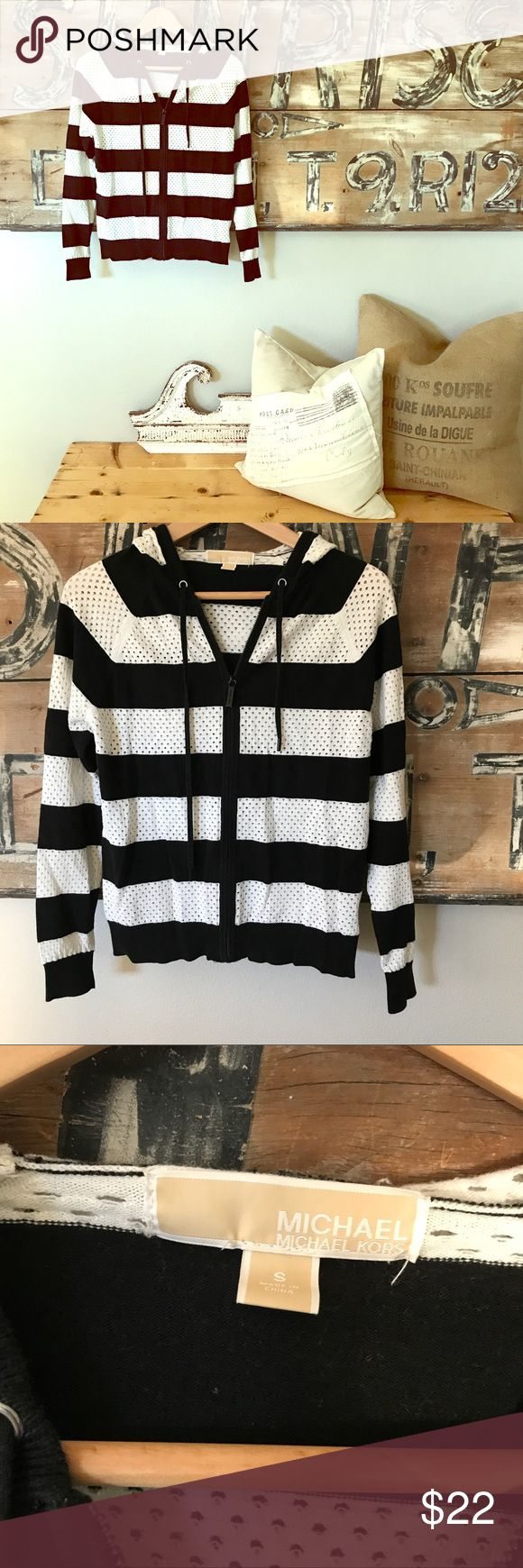 Micheal Kors striped zip up hoodie Great condition. Light weight MICHAEL Michael Kors Sweaters Cardigans