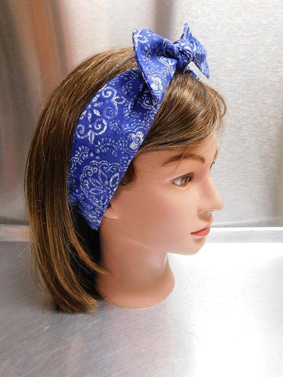 Women s Wide Headband 1950s Style Bow Blue White Bandanna Beach ... cf72f24ae02