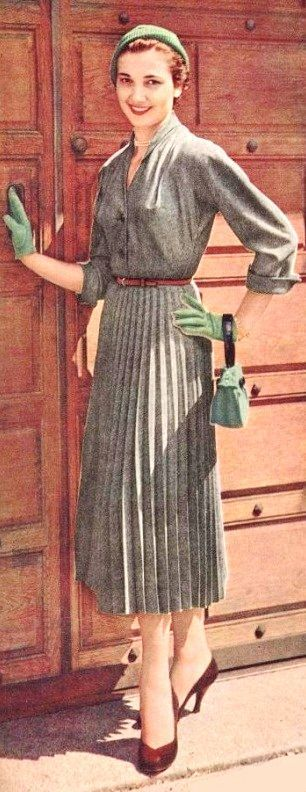 1955 Short Day Dress Pleated Skirt Late Vintage