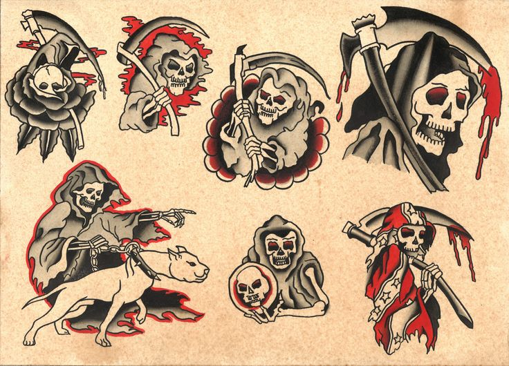 "Traditional Style Grim Reaper Tattoo Flash Sheet - Print - Size 11x14"""