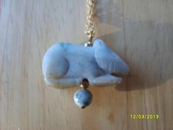 Year of the Rat Jade Necklace, Jade Rat Pendant, Chinese Zodiac, Rat, Chinese Jade Pendant   Great gift for those born in the Year of the Rat on the Chinese calendar: 1900, 1912, 1924, 1936, 1948, 1960, 1972, 1984, 1996, 2008  Chinese Zodiac Year of Rat Pendant  Jade pendant measures 5/8 x