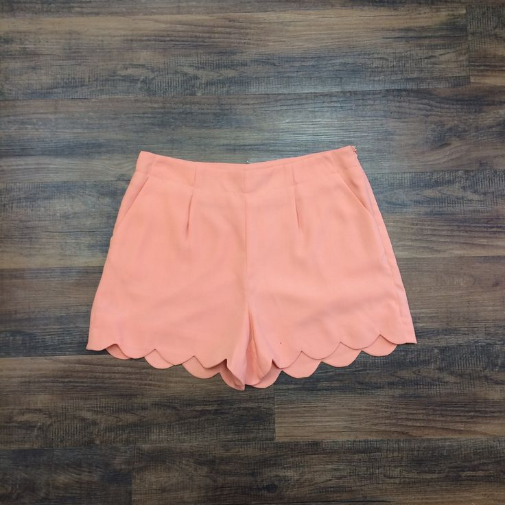 Peach Scalloped Shorts