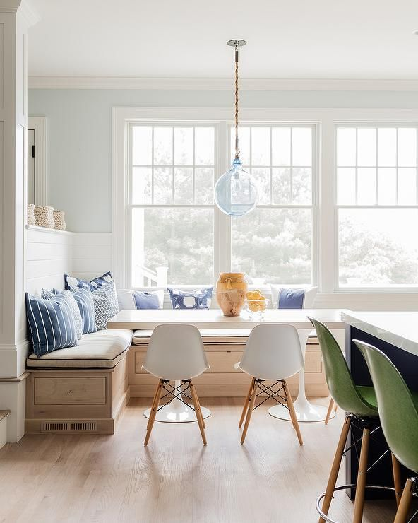 Eat In Kitchen Boasts A Blue Recycled Glass Lantern Hung Above A