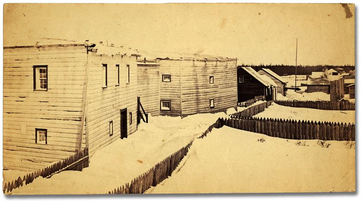 Old Factory House in the winter in Moose Factory, [ca. 1867]