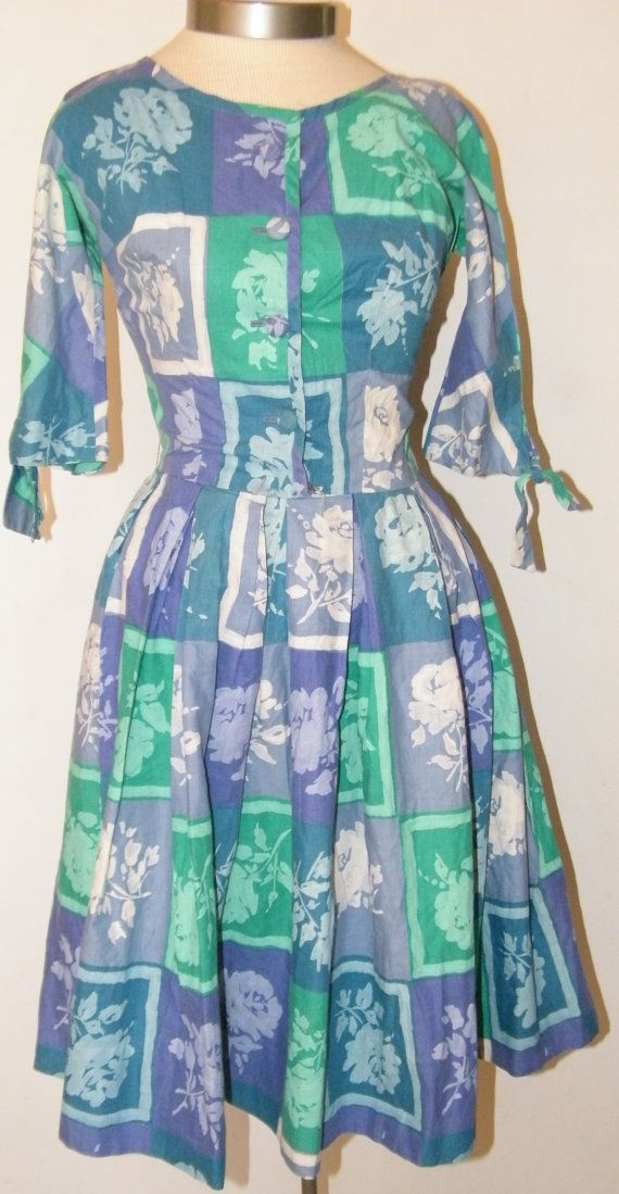 1950s Novelty Print Cotton Day Dress by OrchidRoomVintage on Etsy
