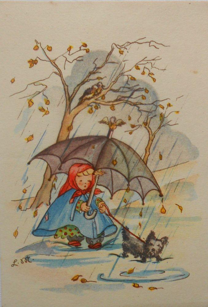 Lotte Minkmar Mädchen Mit Schirm U Hündchen Im Regen C1950