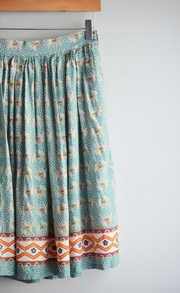 Mint Elephant Print Skirt