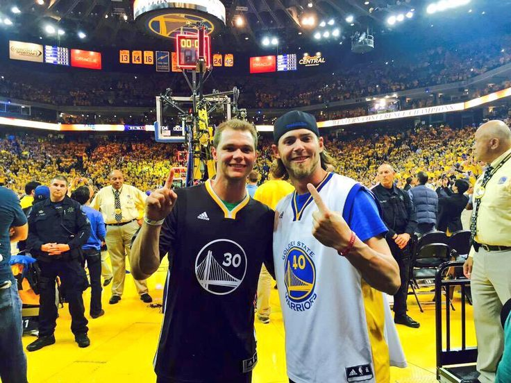 Sonny Gray and Josh Reddick at the Warriors game tonight! NBA Finals- here we come!