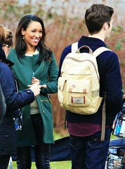 Grant Gustin and Candice Patton film scenes for the hit CW show #TheFlash on January 7, 2015