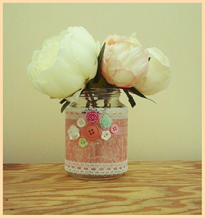 Hand crafted decorative jam jar flower vase with lace and button detail #handmadecrafts #jamjarvase  #flowervase