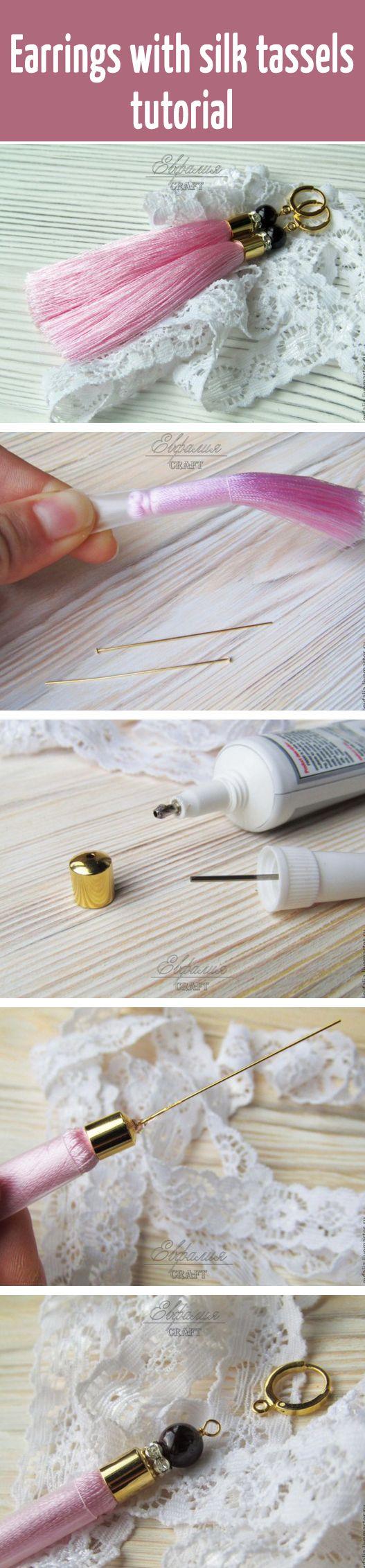 Earrings with silk tassels tutorial