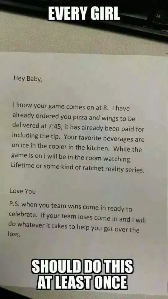 Every girl should do this at least once. Challenge accepted! I will do this to my man one day! #game #order #surprise