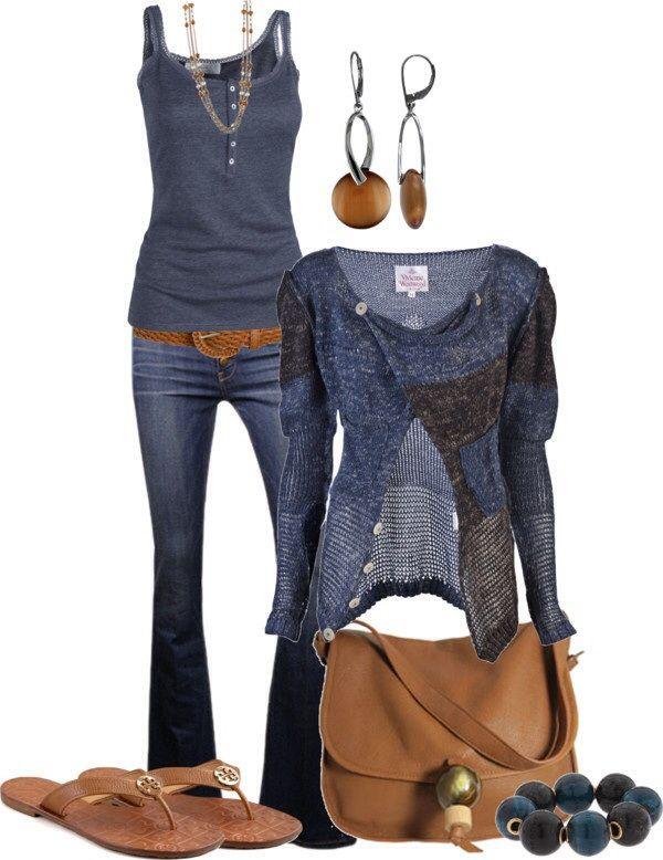 blue jeans, blue top