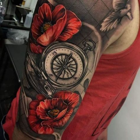 Compass Sleeve Tattoo with Poppies in Illustrative Realism #TattoosforMen