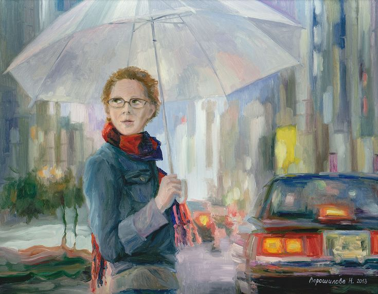 """Title: Under an umbrella Artist: Natalia Voroshilova (Novikova) Style: Impressionism Genre: Architecture Medium: Oil on canvas Size(cm): H90*W70 Year: 2015 Country: Russia Description: The picture """"Under an Umbrella"""" continues the City Rhythm series devoted to relationship of the city and the person. . Visit our website, www.exquisite-art.com to see the art pieces that we have. . #art #pic #oil #artoftheday #arts #asia #store #online #artist #gallery #artwork #picture #handmade #painting…"""