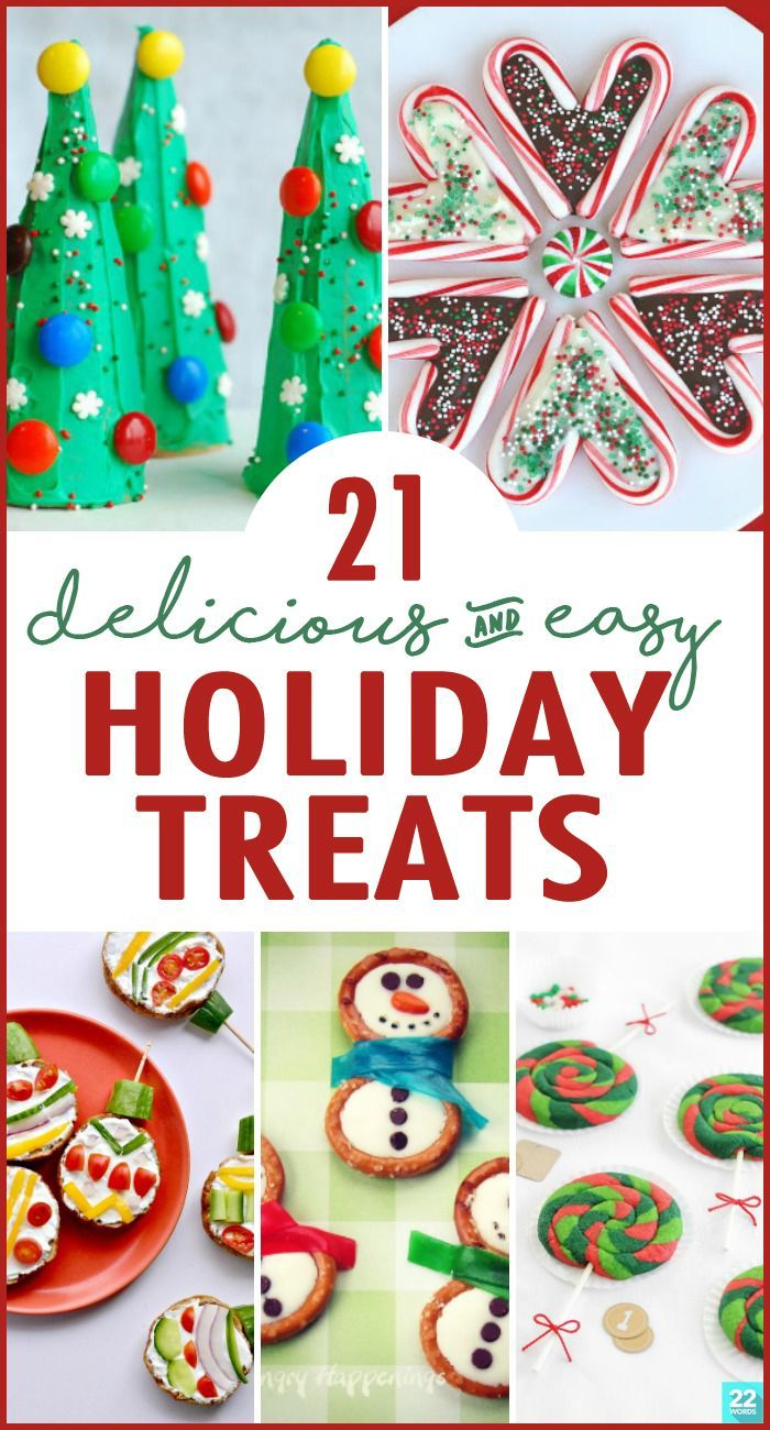 Whip up these EASY holiday treats for your next Christmas party—or just to celebrate the season! Baking cookies is a favorite, kid-friendly holiday tradition (and we have plenty of those recipes, too!), but why not add Peanut Butter Pretzel Christmas Trees, reindeer cupcakes, or even healthy Grinch kabobs to your snack or dessert tray, too? Be sure to make enough to give as for gifts!