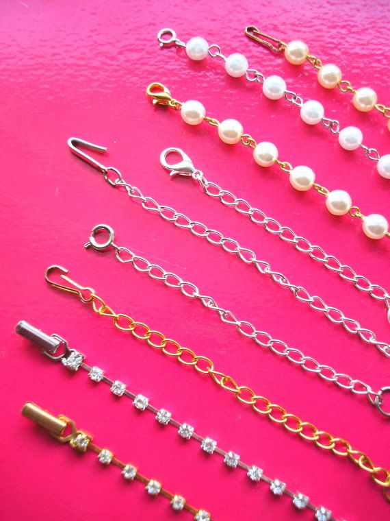 Necklace Extender Chain, Pearl Necklace Extender, Rhinestone Necklace Extender, by CrystalPearlJewelry On Etsy.