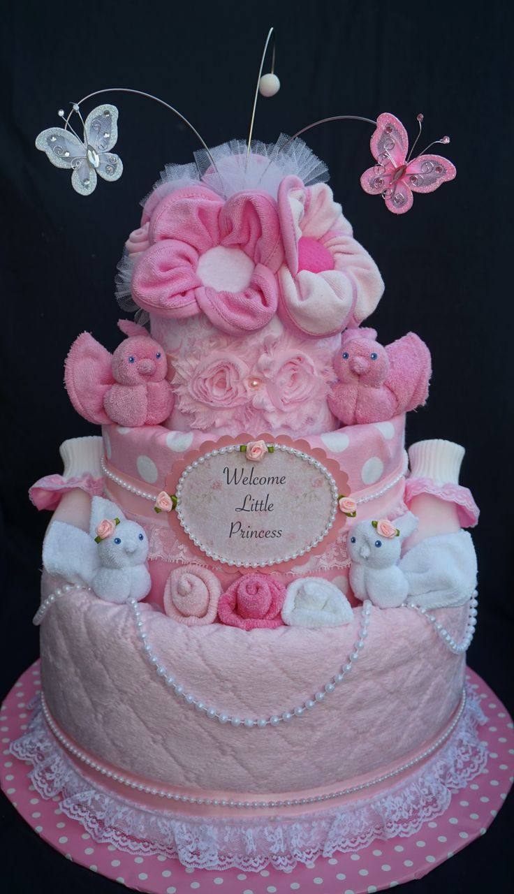 25 best ideas about girl diaper cakes on pinterest for Baby shower decoration diaper cake