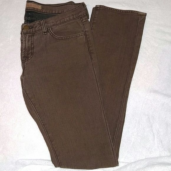 J Brand brown skinny jeans J Brand brown skinny jeans. 99% cotton, 1% spandex. The jeans have a natural distressed/faded look to them and were purchased that way. However there are two small spots of additional fading on bottom as shown in last picture. Otherwise jeans are in good condition. J Brand Jeans Skinny