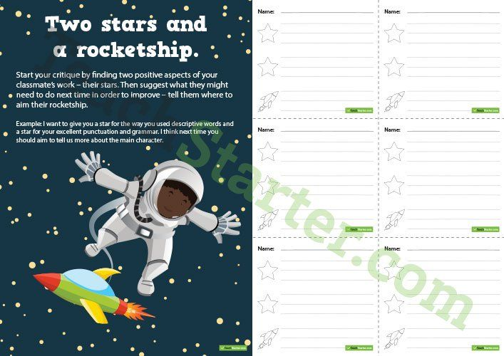 Teaching Resource: A set of Two Stars and a Rocketship feedback cards and display poster for the classroom.