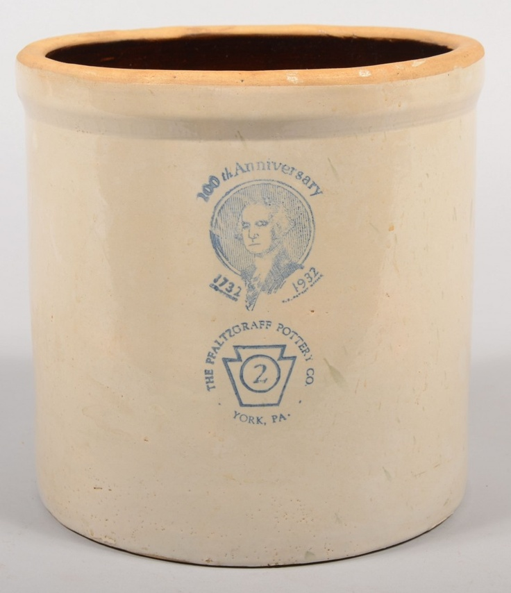 "Pfaltzgraff Anniversary Crock. Straight sided contemporary manufactured crock with printed cobalt markings: ""200th Anniversary Bust of Washington with 1732 - 1932, The Pfaltzgraff Pottery Co., 2 - inside a keystone , York, PA."" 9 1/4""h."