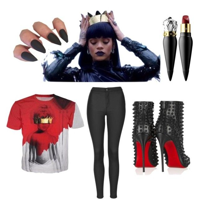 """""""Rihanna Game"""" by lalitahlovesu ❤ liked on Polyvore featuring Topshop and Christian Louboutin"""