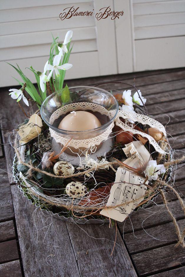 Frühling - :::: Frühlingstablett Schneeglöckchen :::: - ein Designerstück von BlumereiBerger bei DaWanda