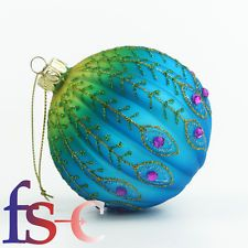 Gisela Graham Christmas Ribbed Peacock Bauble Decorations Set of 4