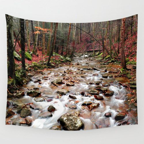 Creek Tapestry, River Tapestry, Woods Tapestry, Woodland Tapestry, Landscape Tapestry, Forest Tapestry, Rustic Tapestry, Landscape Wall Art by mayaredphotography. Explore more products on http://mayaredphotography.etsy.com
