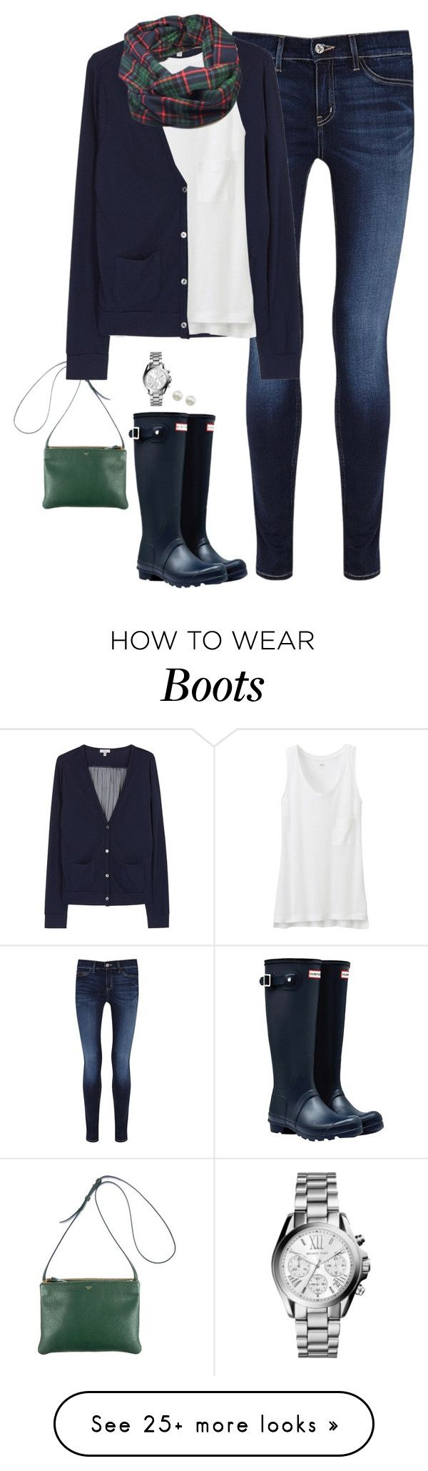"""Plaid scarf, navy cardigan & Hunter boots"" by steffiestaffie on Polyvore featuring MiH, Hunter, CÉLINE, Clu, Uniqlo, Majorica and Michael Kors"