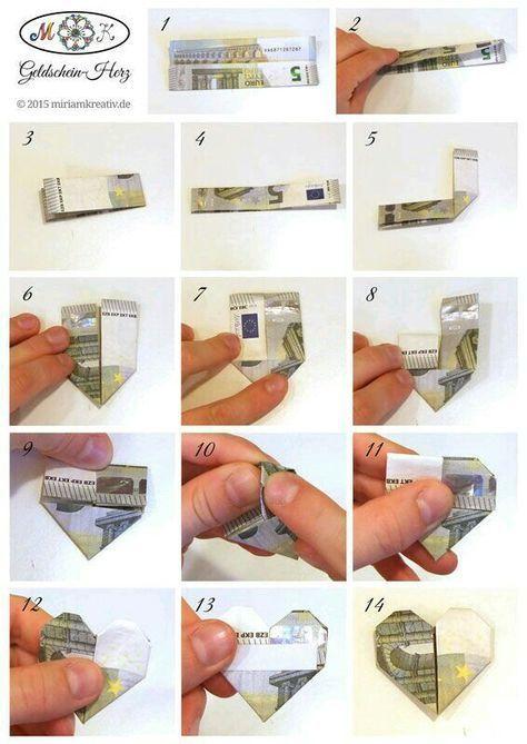 Geld liebevoll verpacken Herz Anleitung