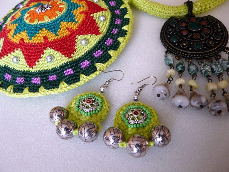 набор для трайбла - сумочка для сагат, серьги и ожерелье