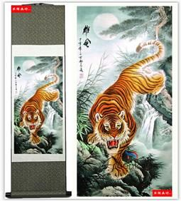 Tiger Chinese Silk Painting Painting Size:65cm*34cm;  Full Size: 45*140cm;  Package: Each piece in one gift box, 40pcs/Carton;  In ancient China, it will always be the calligraphy and painting painted on silk, satin ors silk. Now, we, China's famous ancient paintings with high simulation of digital printing and dyeing technology than on silk copy from the original. After mounting technology of traditional Chinese painting ors canvas, made of high-grade adornment picture.
