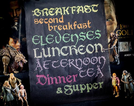 Precious Hobbit Elevenses Meal Plan - Cross Stitch Sampler - PDF Digital Pattern - Black Fabric Background on Etsy, $5.00