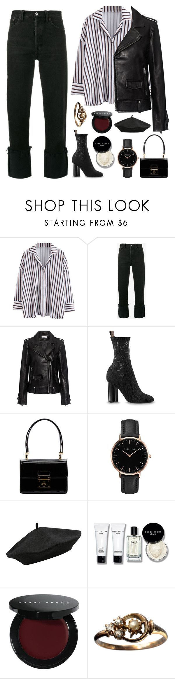 """black beret"" by typicalgemini ❤ liked on Polyvore featuring RE/DONE, IRO, Dolce&Gabbana, Topshop, M&Co and Bobbi Brown Cosmetics"
