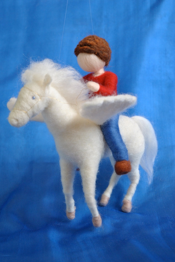 Waldorf inspired needle felted doll mobile: The Boy and the Pegasus.