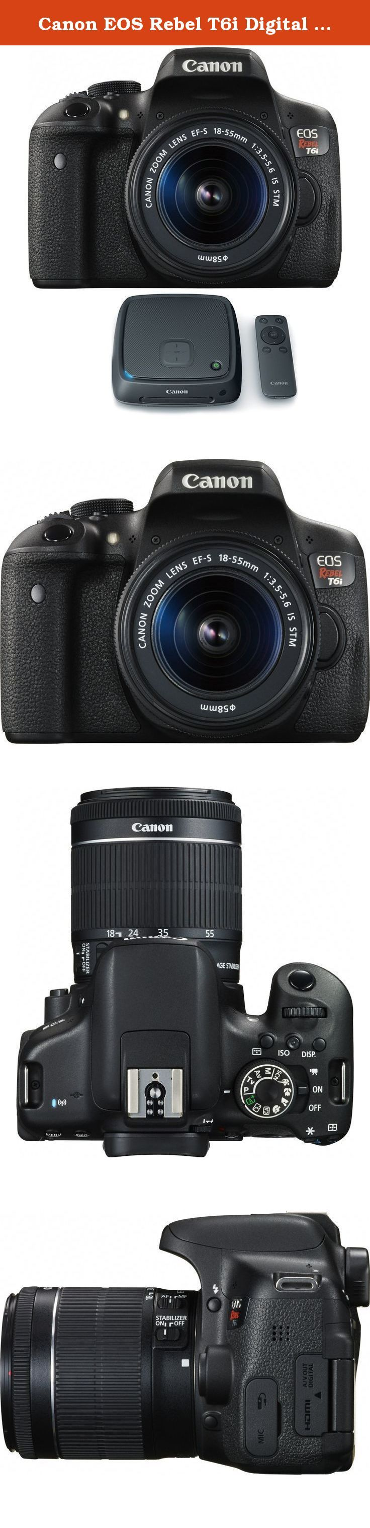 Canon EOS Rebel T6i Digital SLR Camera w/ EF-S 18-55mm Lens + CS100 1TB Connect Station Storage Hub Bundle. Bundle Includes Canon EOS Rebel T6i Camera Body Canon EF-S 18-55mm IS STM Lens Canon Connect Station CS100 1TB Photo and Video Storage Hub with NFC and Wi-Fi Wireless Takes EOS Rebel to The Next Level For gorgeous, high-quality photos and videos that are easy to share, look to the Canon EOS Rebel T6i camera. The EOS Rebel T6i does more, easier, making capturing photos and shooting...