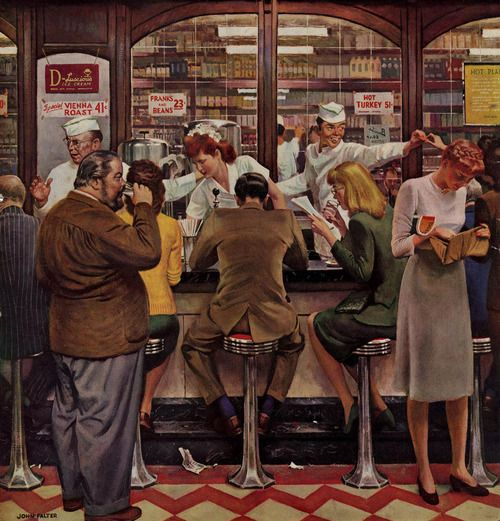 Lunch Counter, art by John Falter.  Detail from October 12, 1946 Saturday Evening Post cover.