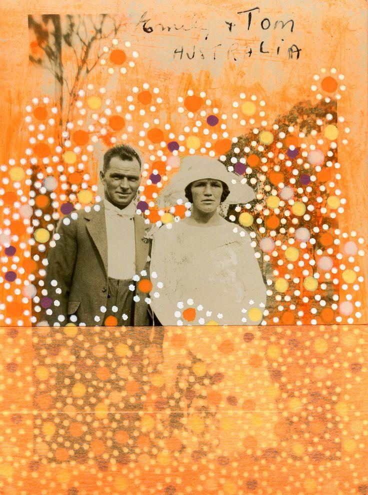 Collage Arancione Fosforescente Su Foto Di Coppia di sposi Vintage Decorata A Mano
