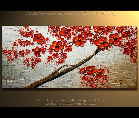 "ORIGINAL Tree Painting 48"" Abstract Contemporary Red Blooming Tree  Painting Heavy Palette Knife by Paula"