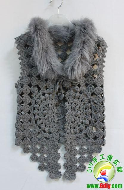 Detailed graphs and layout. Very very cool. Has circular motif on the back also. Crochet Vest with fur.