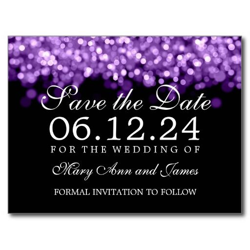 Elegant Save The Date Purple Lights Postcards This site is will advise you where to buyDealsHere a great deal...