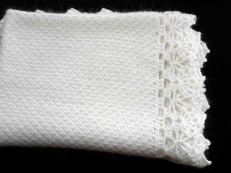 Knitting Pattern For Mohair Blanket : Knitted Baby Blanket - White Mohair