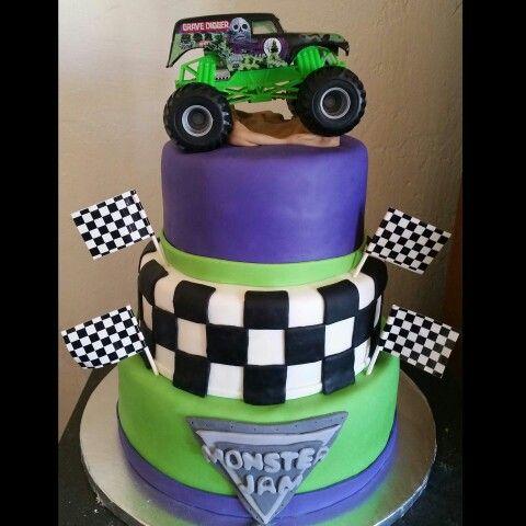 Monster Jam Grave digger cake